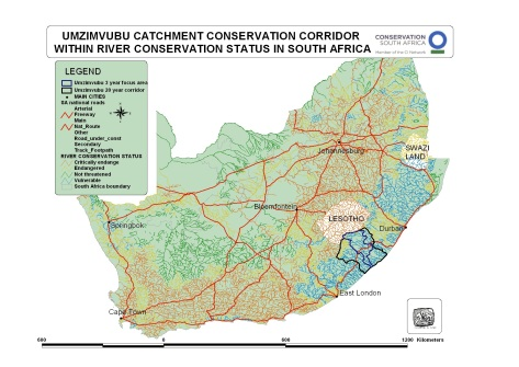Umzimvubu catchment on South African Map